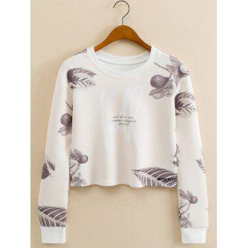 Leaf Figure Cropped Long Sleeve Sweatshirt