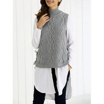 Turtle Neck Ribbed Knitting Tank Top