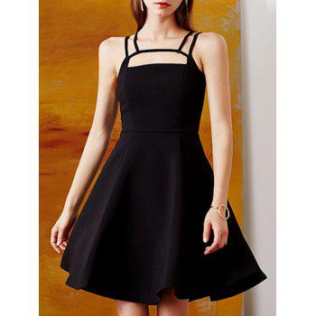 Retro Straps  Hollow Out Fit and  Flare Dress