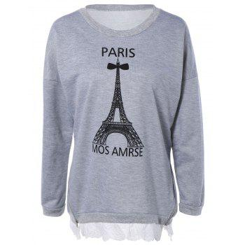 Laciness Spliced Tower Print Long Sleeve Sweatshirt