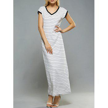 V-Neck Contrast Trim Striped Casual Dress