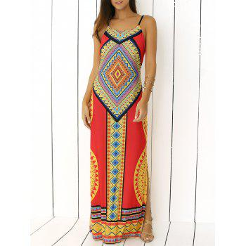 Spaghetti Strap Tribal Print Backless Maxi Dress