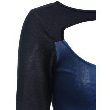 Slimming Long Sleeve Cut Out Top - BLUE XL