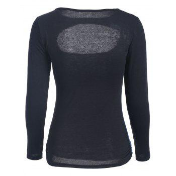 Slimming Long Sleeve Cut Out Top - BLUE BLUE
