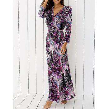 V Neck Cheetah Print Long Boho Dress