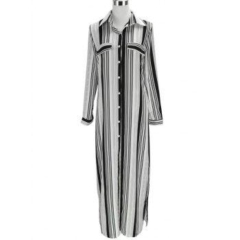 Vertical Stripe Long Sleeve Shirt Dress