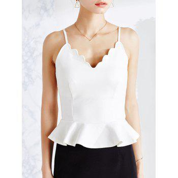 Vintage Scalloped V Neck Peplum Tank Top