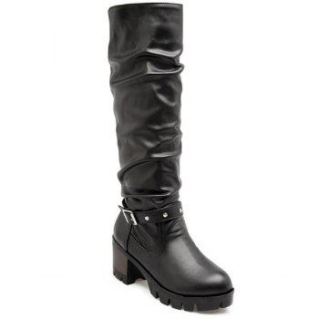 Faux Leather Buckle Strap Knee High Boots
