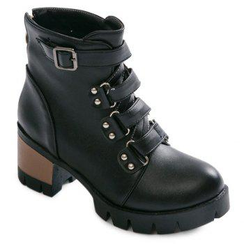 Studded Buckle Strap Short Boots