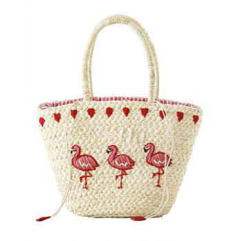 Straw Flamingo Embroidery Tote Bag