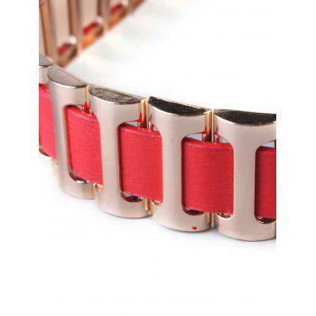 Pin Buckle Watchband Wide Belt - RED
