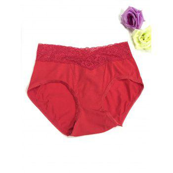Lace Panel High Waisted Briefs - RED M