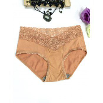 Lace Panel High Waisted Briefs - CHAMPAGNE CHAMPAGNE
