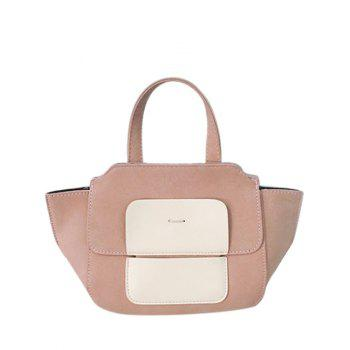 PU Leather Winged Color Block Tote Bag