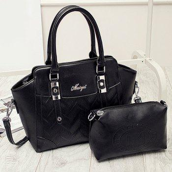 Zip Metal Buckle Strap Embossed Stitching Tote Bag