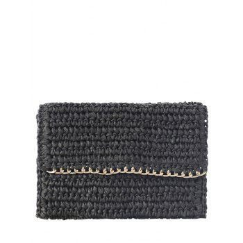 Weaving Chain-Trimmed Straw Clutch Bag - BLACK BLACK