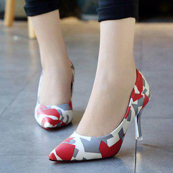Pointed Toe Geometric Print Pumps - RED 38