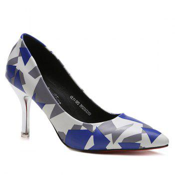 Pointed Toe Geometric Print Pumps