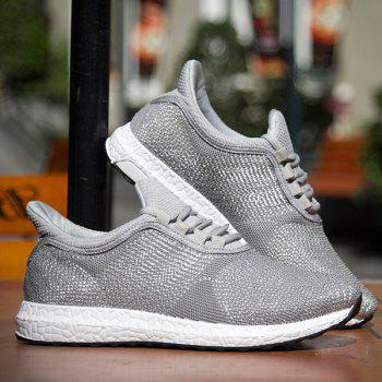 Lace-Up Mesh Athletic Shoes - GRAY 42