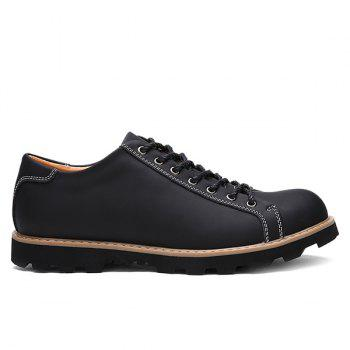 Leather Lace-Up Stitching Casual Shoes - BLACK 43