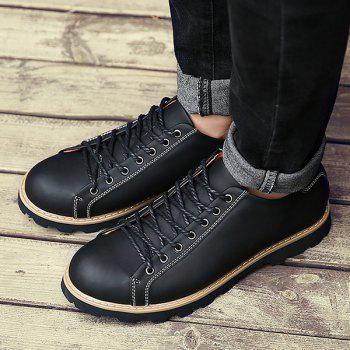Leather Lace-Up Stitching Casual Shoes - BLACK 40