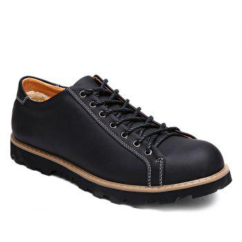 Leather Lace-Up Stitching Casual Shoes