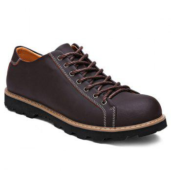 Buy Leather Lace-Up Stitching Casual Shoes BROWN
