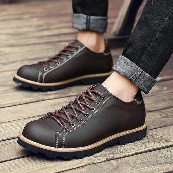 Leather Lace-Up Stitching Casual Shoes - BROWN 41