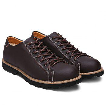 Leather Lace-Up Stitching Casual Shoes - BROWN 40