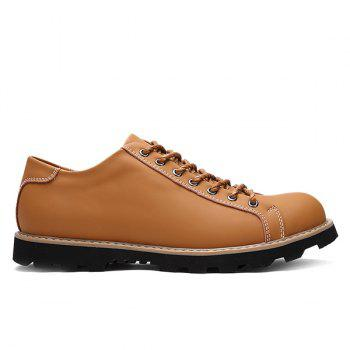 Leather Lace-Up Stitching Casual Shoes - LIGHT BROWN 43