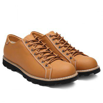 Leather Lace-Up Stitching Casual Shoes - LIGHT BROWN 44