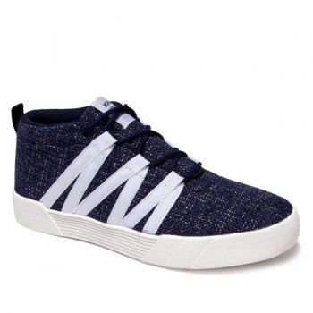 Linen Lace-Up Mid Top Casual Shoes