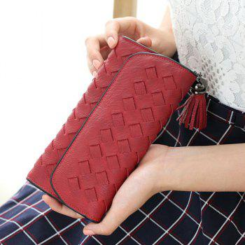 Stitching Woven Cover Tassel Flap Wallet -  RED