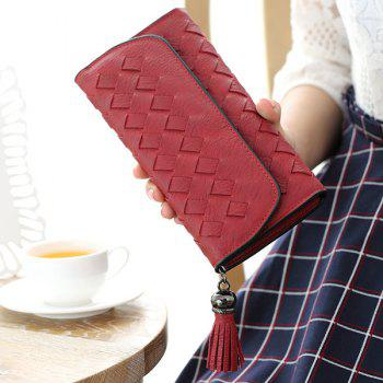 Stitching Woven Cover Tassel Flap Wallet - RED RED