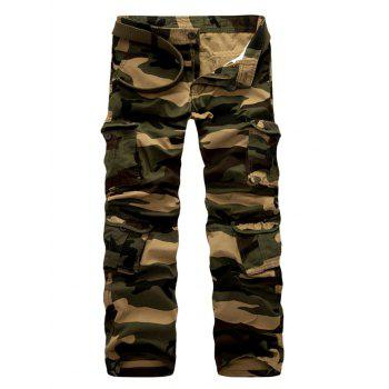 Zipper Fly Straight Leg Casual Camouflage Multi-Pockets Design Pants