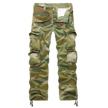 Straight Leg Camouflage Zipper Fly Multi-Pockets Embellished Pants