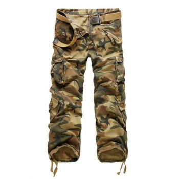 Multi-Pockets Embellished Zipper Fly Straight Leg Camouflage Pants