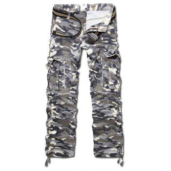 Zipper Fly Straight Leg Camo Multi-Pocket Design Pants