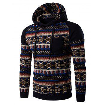 Hooded Pocket Raglan Sleeve Tribal Print Hoodie