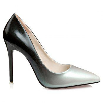 Gradient Color Stiletto Heel Pointed Toe Pumps - SILVER 37