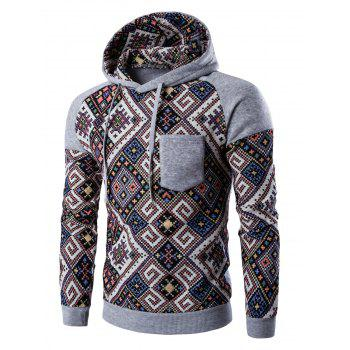 Hooded Pocket Raglan Sleeve Ethnic Style Abstract Print Hoodie - LIGHT GRAY 2XL