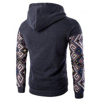 Hooded Pocket Raglan Sleeve Ethnic Style Abstract Print Hoodie - DEEP GRAY DEEP GRAY