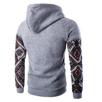 Hooded Pocket Raglan Sleeve Ethnic Style Abstract Print Hoodie - LIGHT GRAY LIGHT GRAY