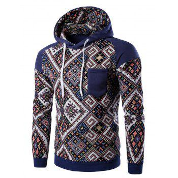 Hooded Pocket Raglan Sleeve Ethnic Style Abstract Print Hoodie