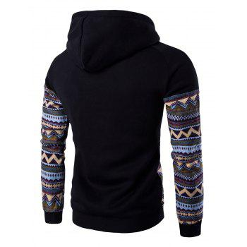 Hooded Pocket Raglan Sleeve Color Block Tribal Printed Hoodie - BLACK 2XL