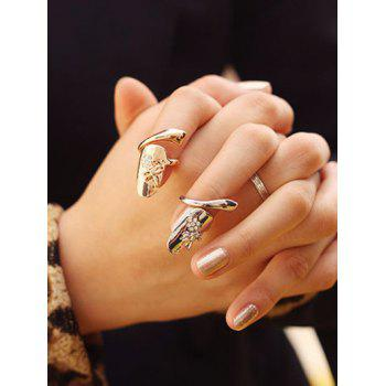 2 Pcs Dragonfly Rhinestone Flower Nail Rings