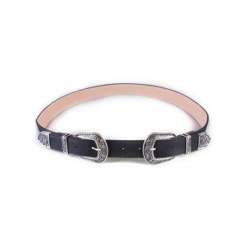Retro Double Buckles Wide Belt
