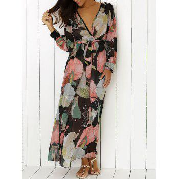 Boho Surplice Floral Long Sleeve Dress