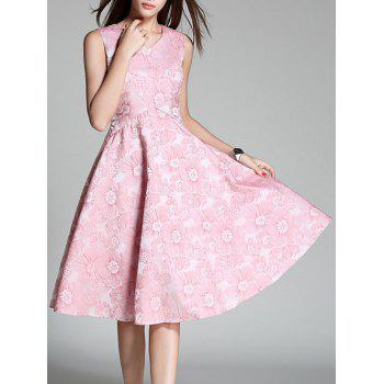 Floral Embroidered High Waist Flare Dress