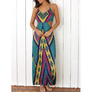 Stylish Halter Colored Argyle Pattern Women's Maxi Dress